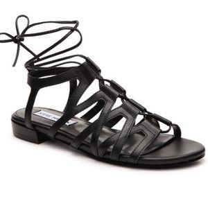 Steve Madden Black Gladiator Lace Up Sandals 10